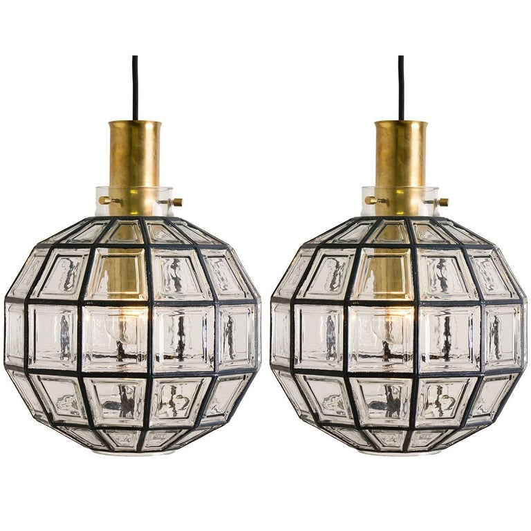 Pair of Two Large Iron and Clear Glass Light Fixtures by Limburg, circa 1965