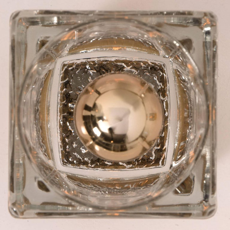 Set of Six Peill & Putzler Wall/Ceiling Lights Brass and Glass Cubes, 1970s For Sale 1