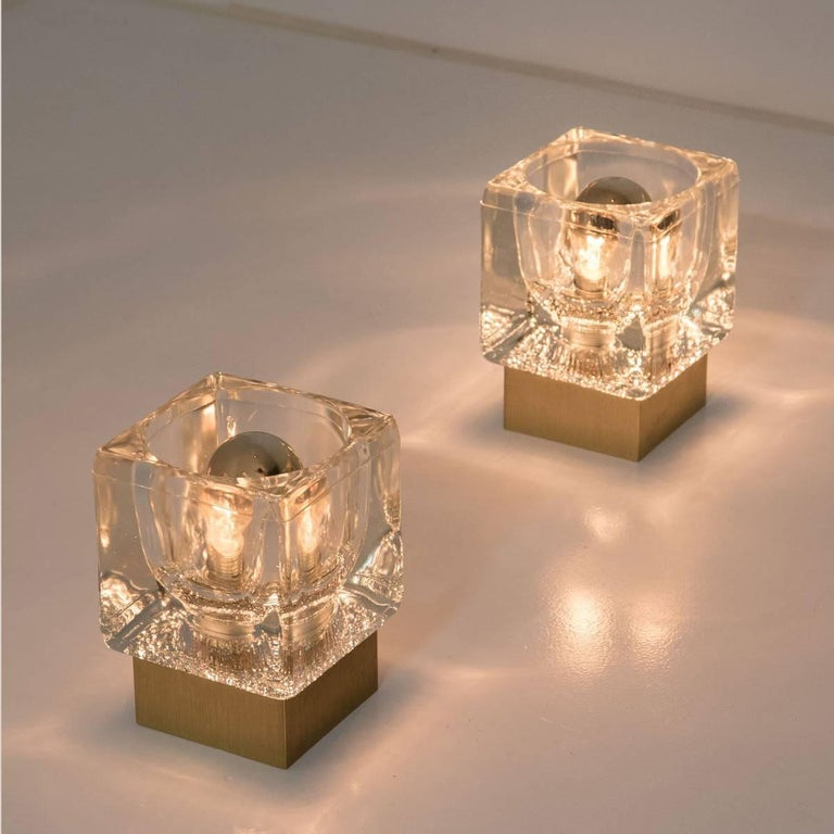 German Set of Six Peill & Putzler Wall/Ceiling Lights Brass and Glass Cubes, 1970s For Sale