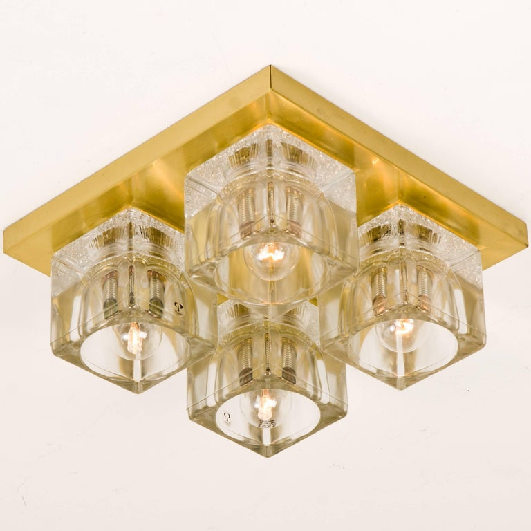 Set of Six Peill & Putzler Wall/Ceiling Lights Brass and Glass Cubes, 1970s For Sale 3