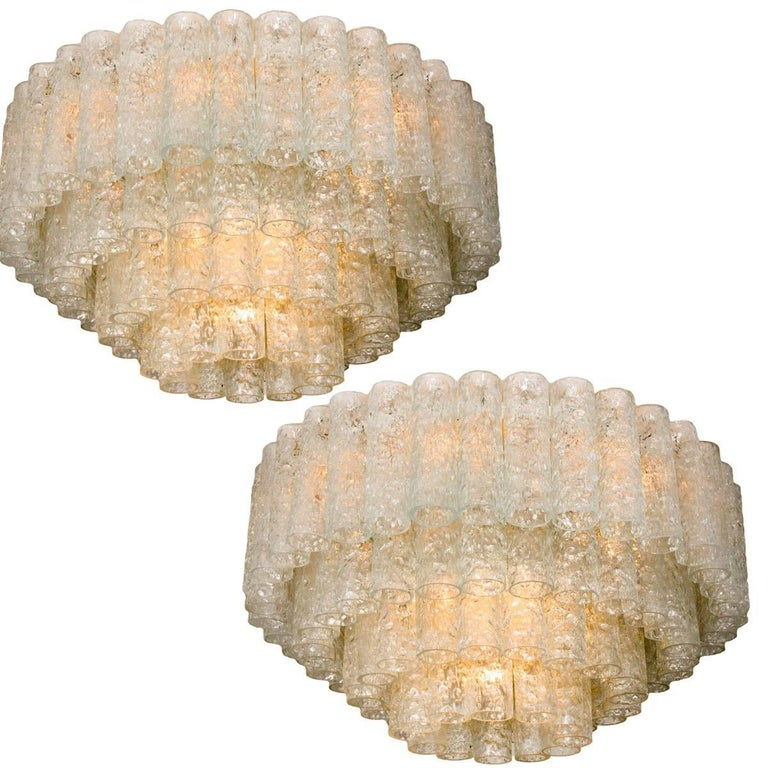 Two Doria Organic Giant Ballroom Flush Mounts with 96 Glass Tubes, 1960s