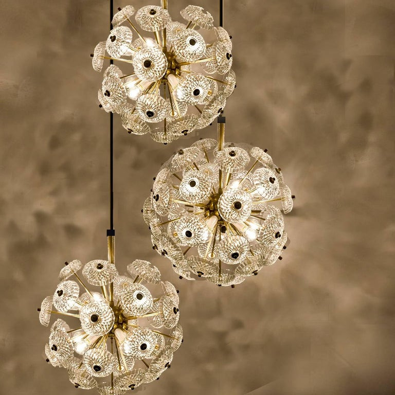 pair of large cascade light fixture with three sputniks in style of