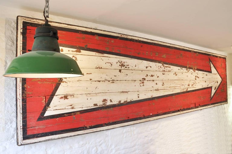 Hard to contain my excitement with this amazing find. Sourced in France we believe this huge vintage circus sign to be circa 1930s.  It would have been used to point potential customers in the right direction for a travelling fairground or circus.