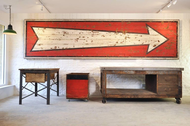 French 20th Century Huge Vintage Fairground Arrow Sign For Sale