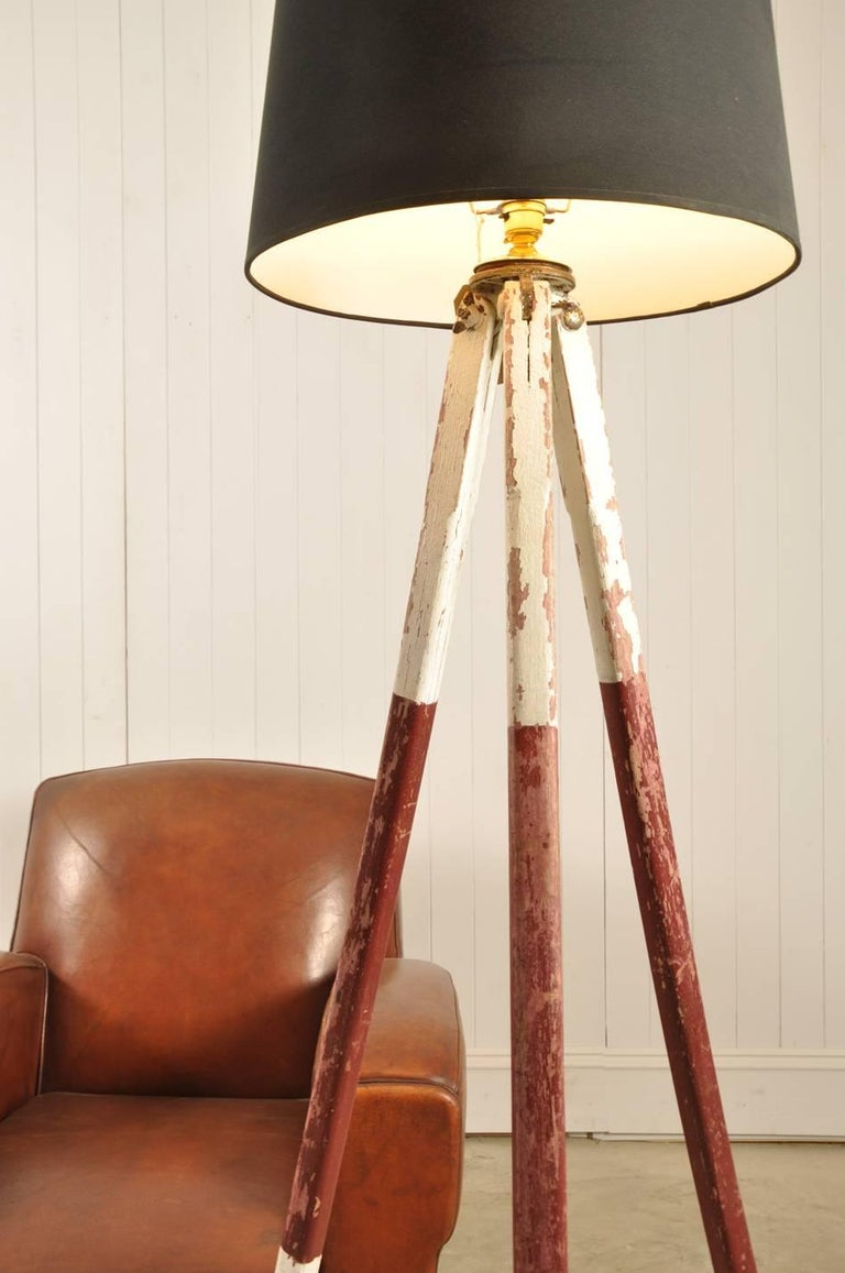 Converted Tripod Lamp In Distressed Condition For Sale In Cirencester, GB