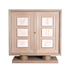 French Two-Door Art Déco Cupboard Oak Ceruse Body Engraved Glass Door Panels