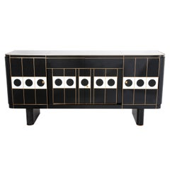 Large Midcentury Italian Black and White Mirrored Four Doors Sideboard