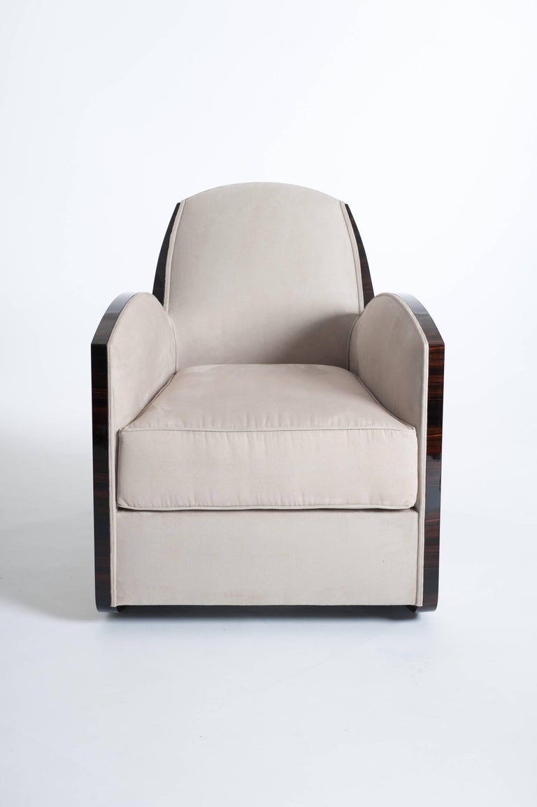 Veneer Pair of French Art Deco Macassar Armchairs in the Style of Jules Leleu For Sale
