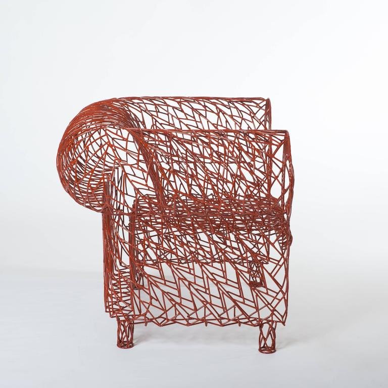 Modern Armchair in Welded Construction, Red Lacquered by A. Spazzapan, Signed 4