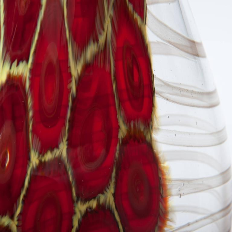 Hand-Crafted Elegant and tall bottle-shaped Murano glass vase clear glass, dark-red and yello For Sale