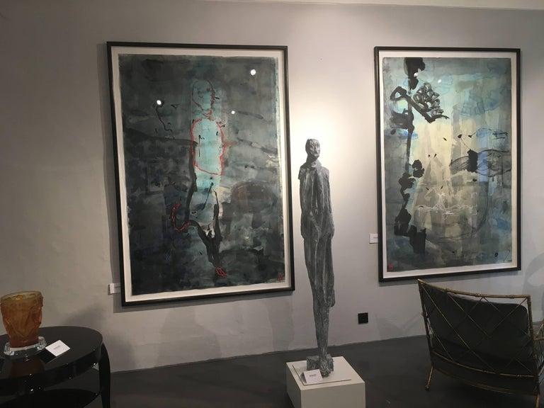 Abstraktes Gemälde von Jens Birkemose, Wasserfarben und Acryl auf Papier 3