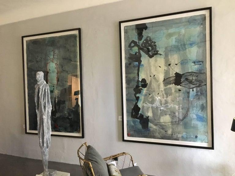 Abstraktes Gemälde von Jens Birkemose, Wasserfarben und Acryl auf Papier 4
