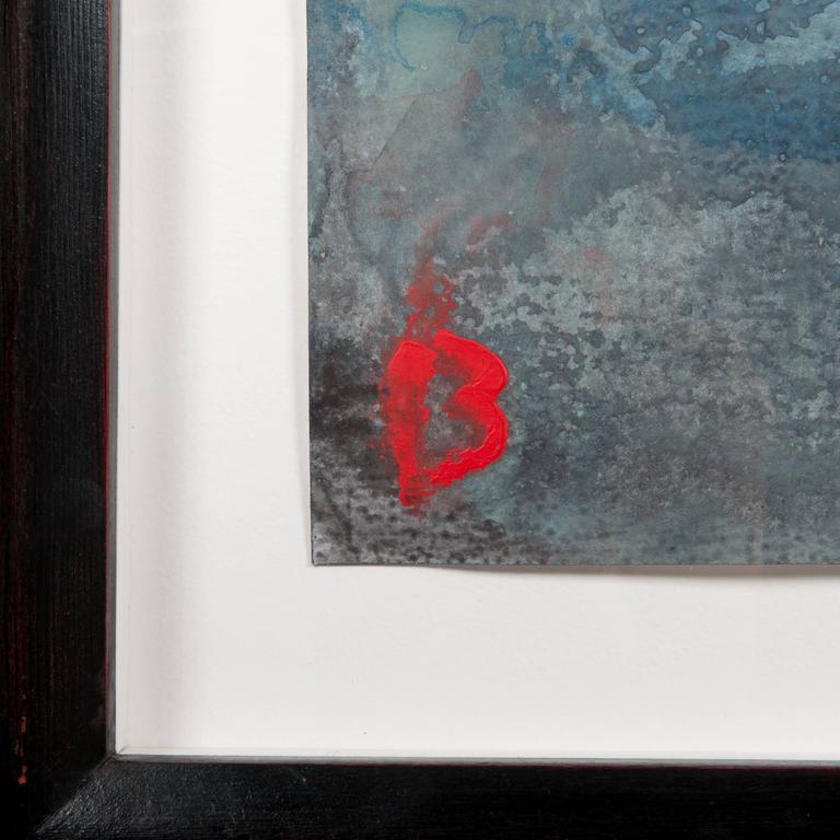 Abstraktes Gemälde von Jens Birkemose, Wasserfarben und Acryl auf Papier 2