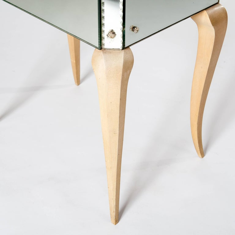Metal Petite, French Mirrored Glass Art Deco Commode on Elegant Bow Legs For Sale