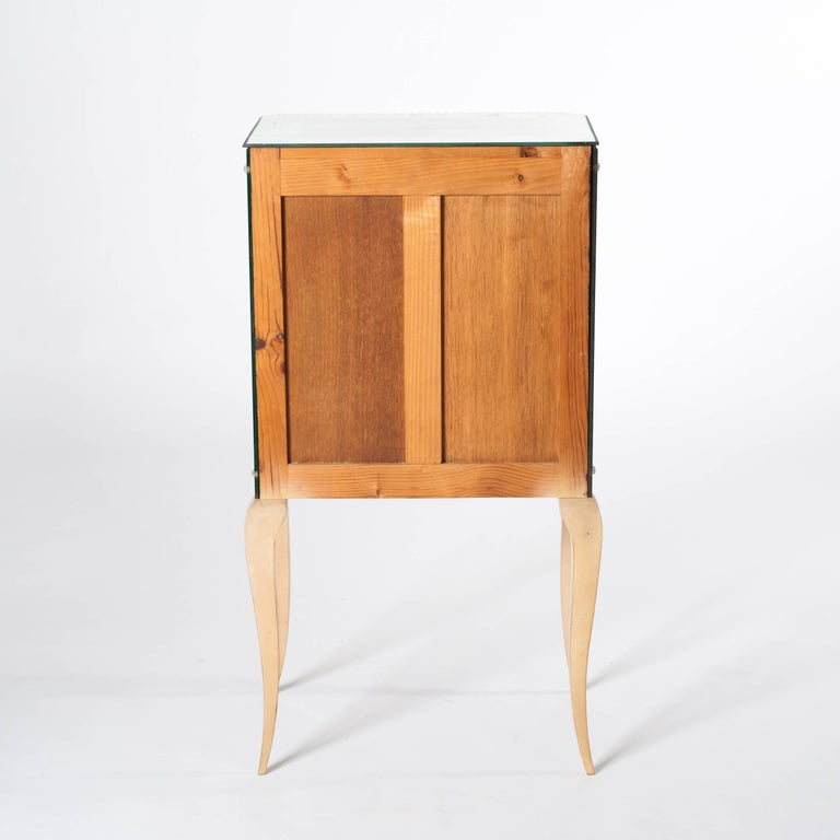 Petite, French Mirrored Glass Art Deco Commode on Elegant Bow Legs For Sale 3