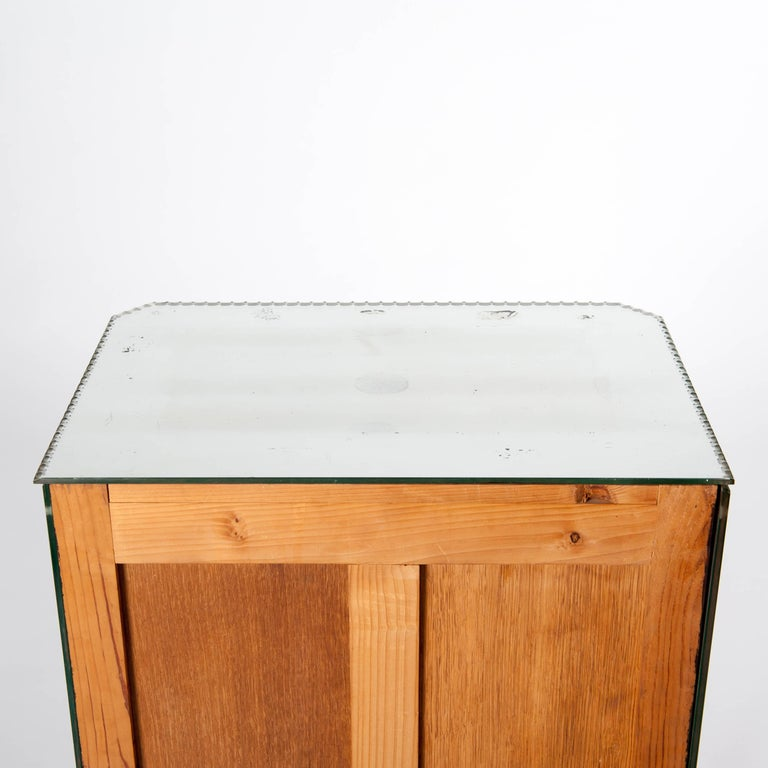 Petite, French Mirrored Glass Art Deco Commode on Elegant Bow Legs For Sale 4