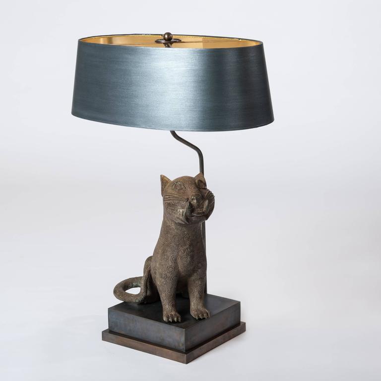Tribal Mid Century Bronze Leopard from Benin, Purpose-Built Lamp Construction For Sale