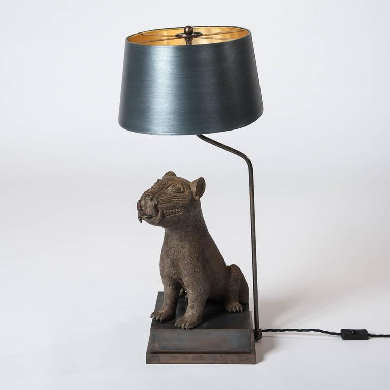 Beninese Mid Century Bronze Leopard from Benin, Purpose-Built Lamp Construction For Sale