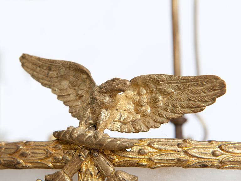 Mid-19th Century Impressive Napoleon III Chandelier, Firegilded Bronze with Alabaster For Sale