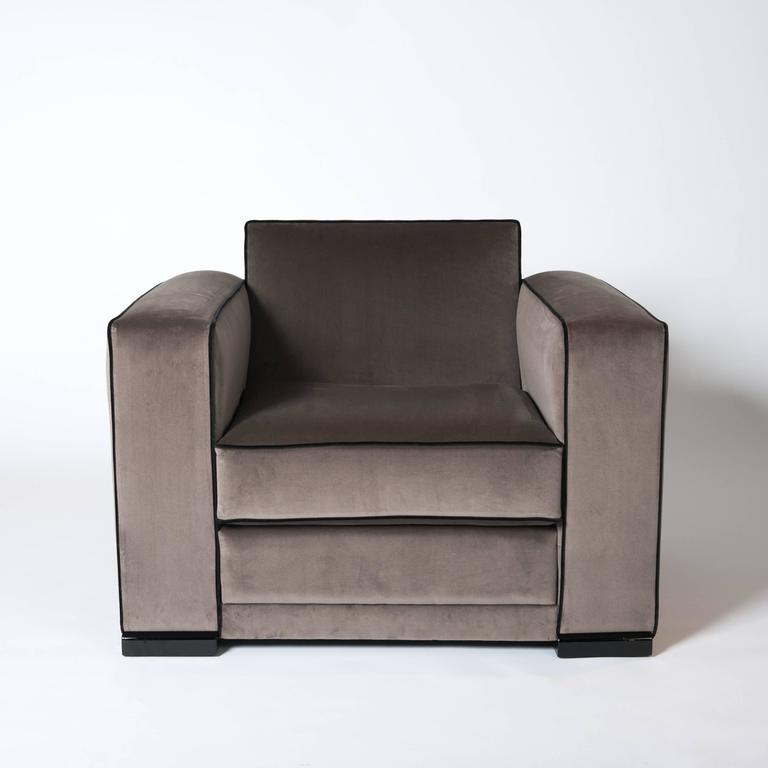 Art Deco Pair of French Art Déco Jacques Adnet Club Chairs Cubistic Shaped Taupe Colored For Sale