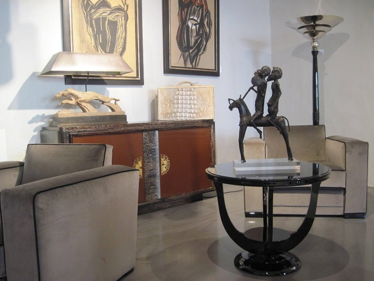 Velvet Pair of French Art Déco Jacques Adnet Club Chairs Cubistic Shaped Taupe Colored For Sale