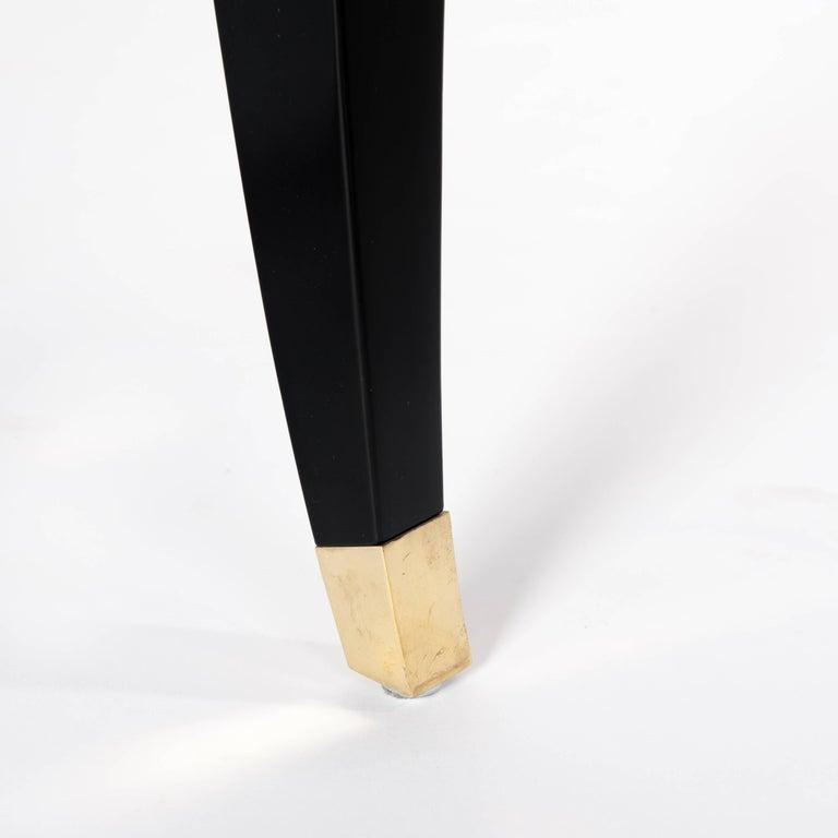 Französische Rechteckiger Art Deco Esstisch Schwarz Lackiert mit Vier Ikonischen Beinen 10