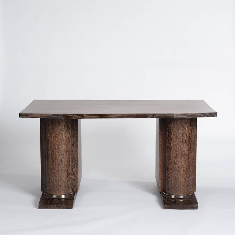 Französischer Art Deco Schreibtisch, Eiche Ebenholzton