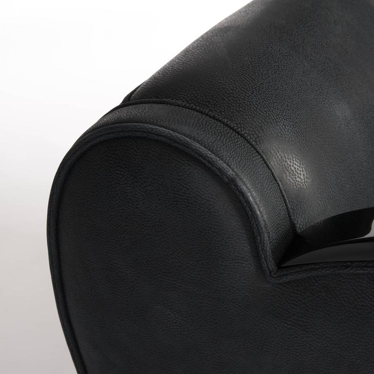 French Art Deco Club Chair with Curved Arms and Sides in Grey Nubuck Leather For Sale 1