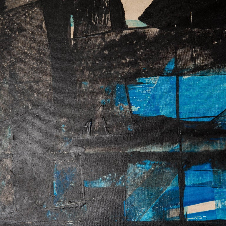 Spanish Impressive Abstract Painting Turquois-Black Signed by Ricardo Santamaria, 1970 For Sale