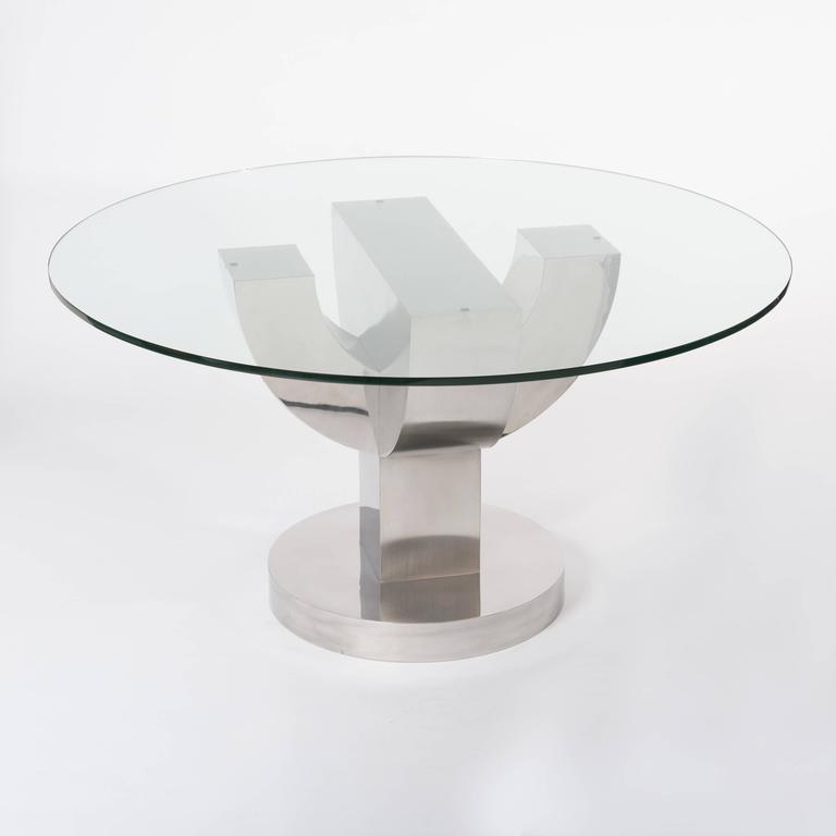 20. Jahrhunderts Italienischer Kaktus Förmiger Esszimmer Tisch mit Edelstahl Furnier  2