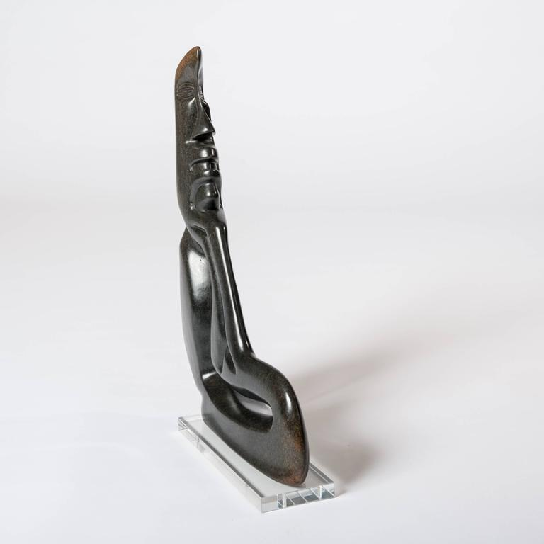 Mid-Century Modern Midcentury Cubistic African Black Springstone Sculpture, Signed B. Khoreay For Sale