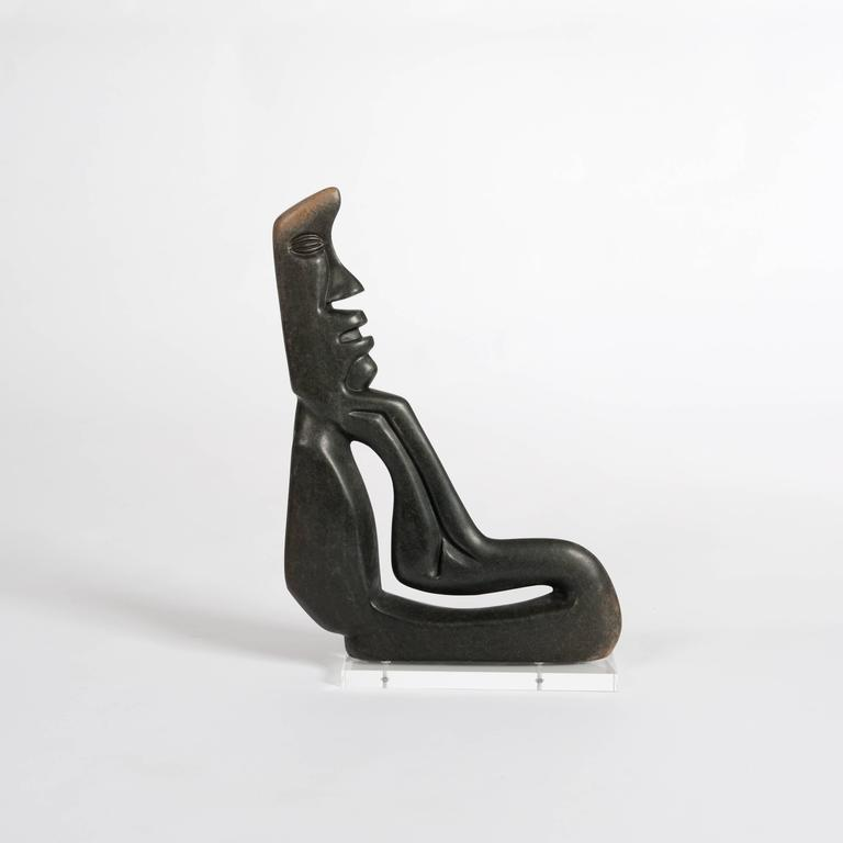 Malawian Midcentury Cubistic African Black Springstone Sculpture, Signed B. Khoreay For Sale