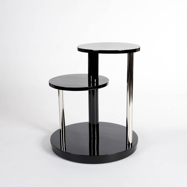 Galvanized Black Lacquered French Art Deco Coffee Table or Side Table For Sale