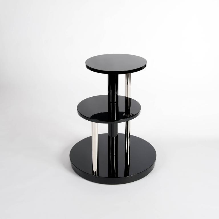 Mid-20th Century Black Lacquered French Art Deco Coffee Table or Side Table For Sale