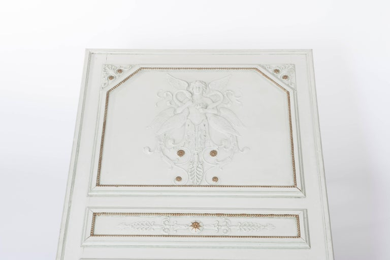 French Grey Napoleon III Trumeau Mirroir with Classical Symbols, Mercury Glass For Sale 1