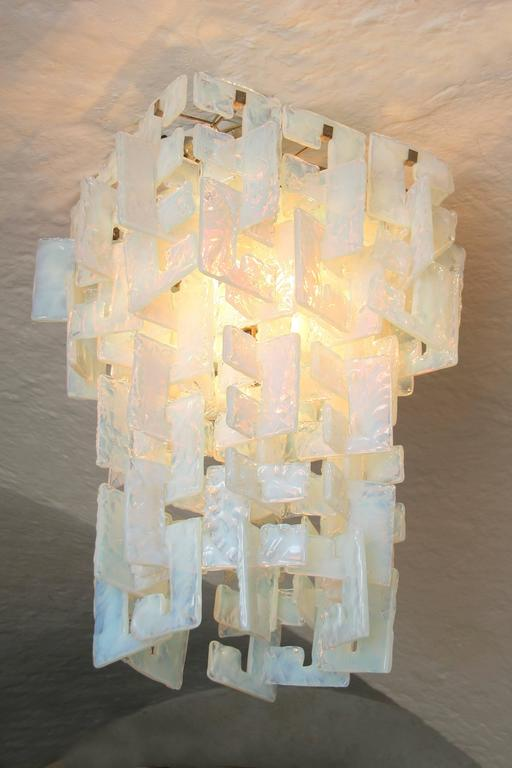 "Mid-Century Italian Mazzega ""Interlocking C"" Chandelier Light Turquoise 5"