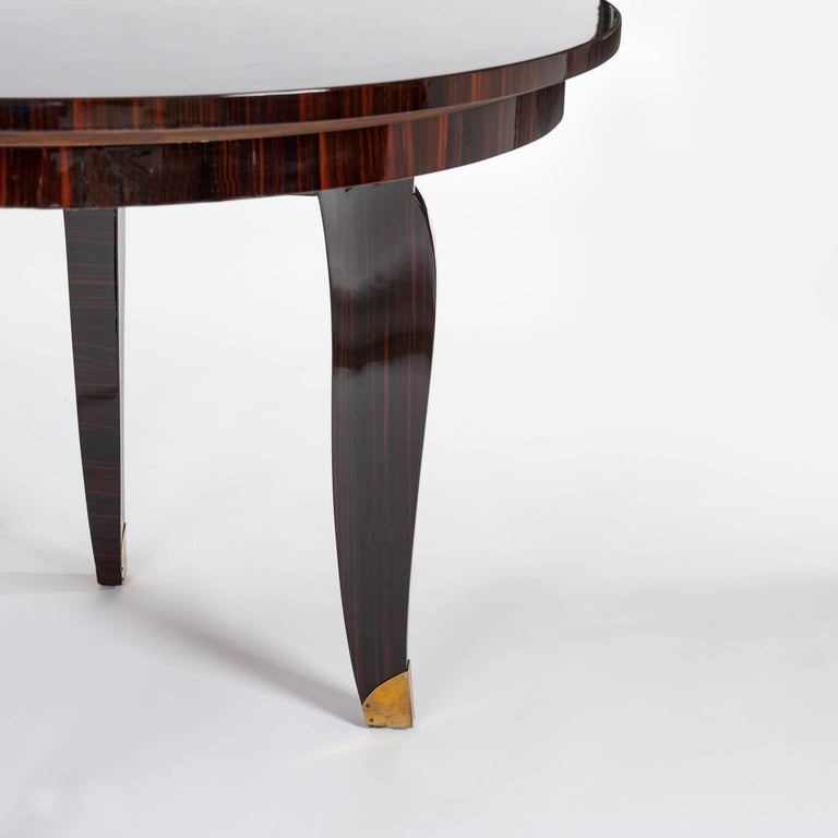 Bronze French Art Deco Dining Room / Center Table Macassar Veneer, Signed Nancy 1935 For Sale