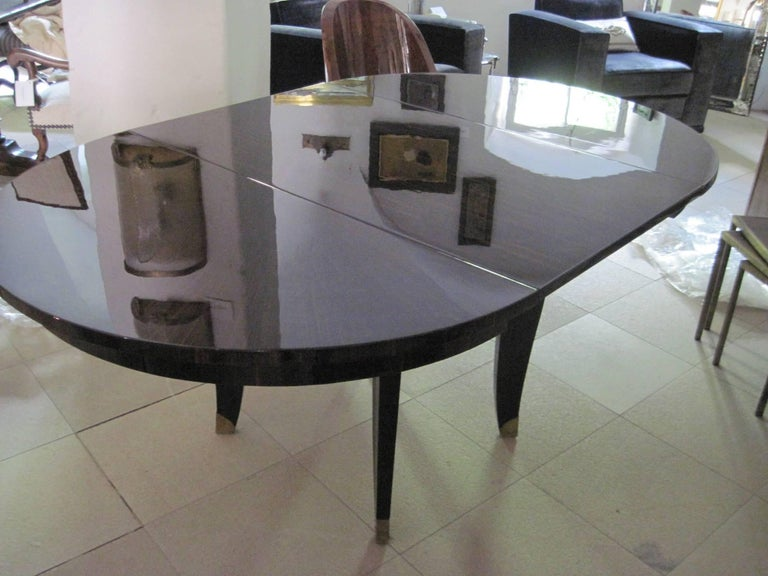 French Art Deco Dining Room / Center Table Macassar Veneer, Signed Nancy 1935 For Sale 5
