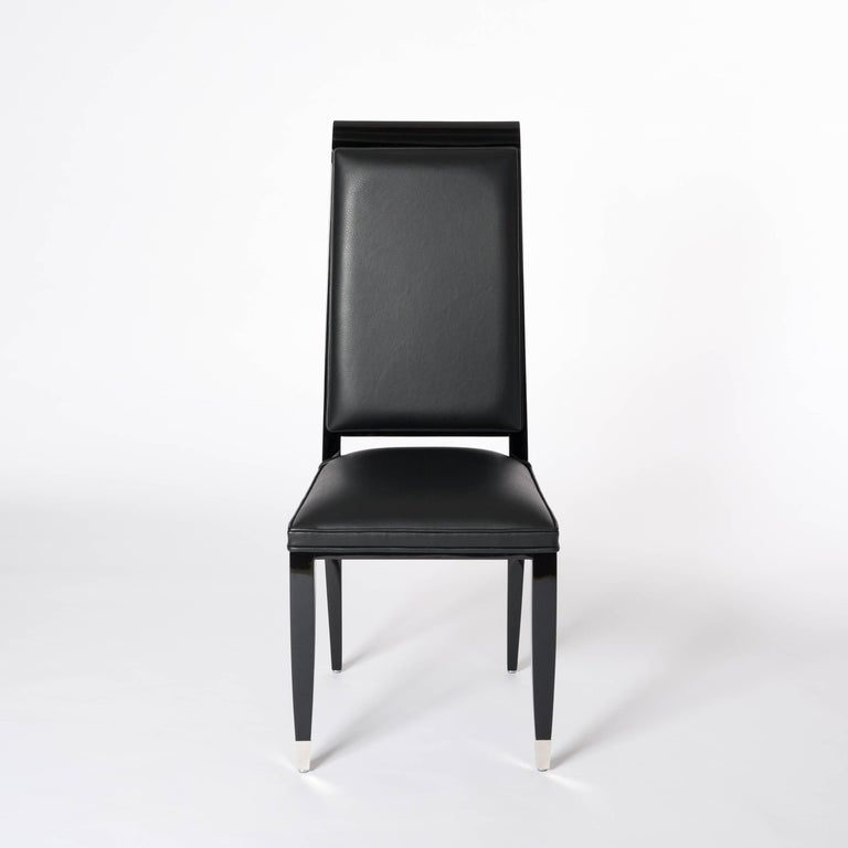 Hand-Crafted Four French Black Lacquered Art Deco Dining Room Chairs with High Backrest For Sale