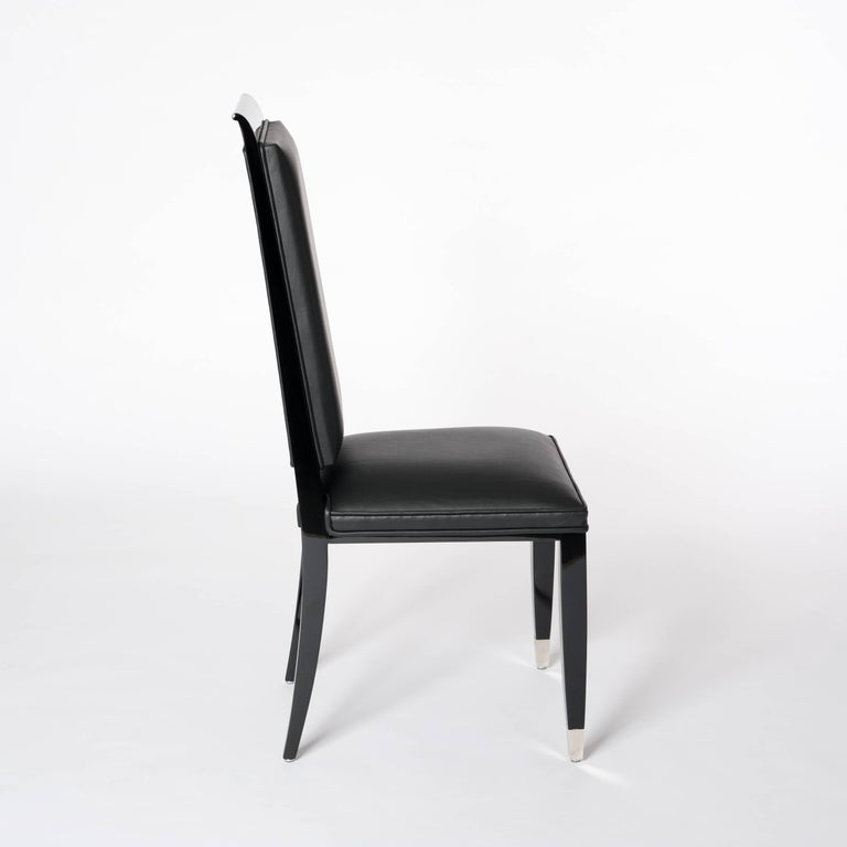Four French Black Lacquered Art Deco Dining Room Chairs with High Backrest In Good Condition For Sale In Salzburg, AT