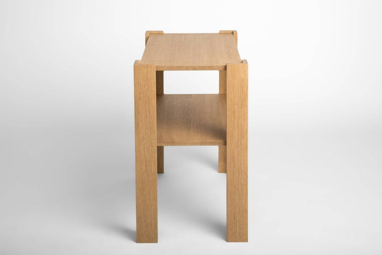 Made from solid rift white oak. Variations in size and material are available.   IN STOCK  Gustafson's inspiration stems from a love of the history of art, architecture and design. Gustafson pieces are inherently tactile they invite one to touch and