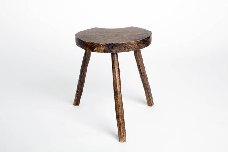 Hand-Carved Primitive Vintage French Splayed Leg Wood Stool
