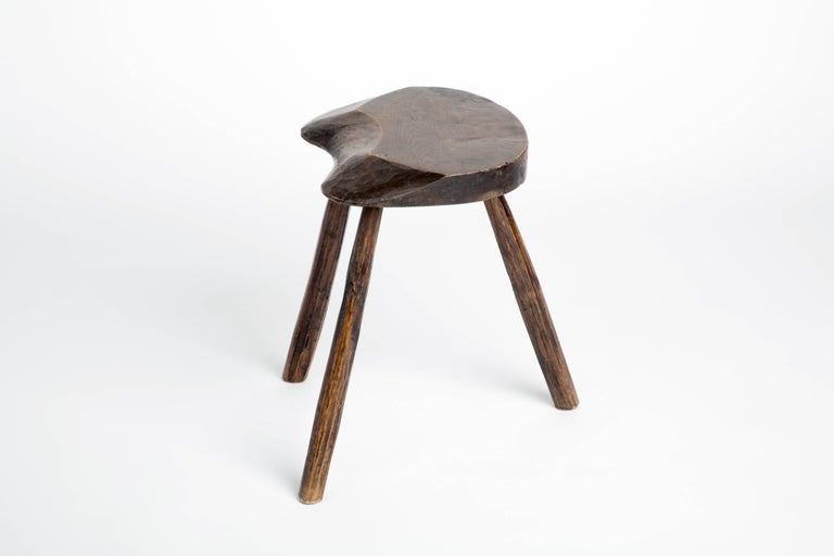 Primitive Vintage French Splayed Leg Wood Stool In Good Condition In New York, NY