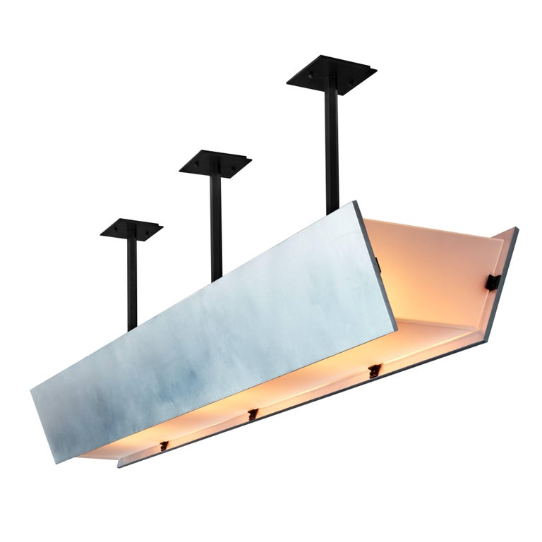 American FERRER Metal and Glass Large Linear Pendant 001 For Sale