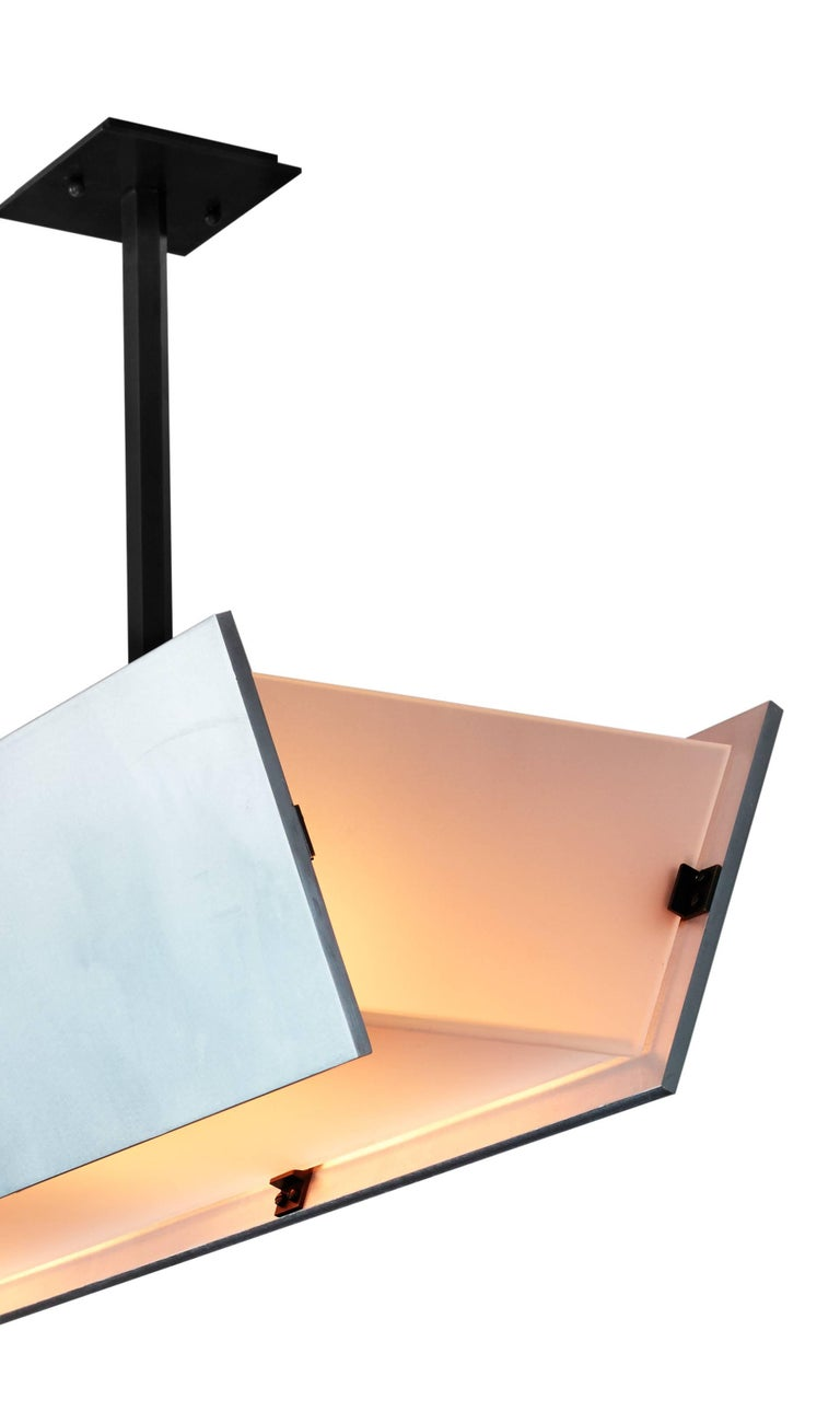 Brushed FERRER Metal and Glass Large Linear Pendant 001 For Sale