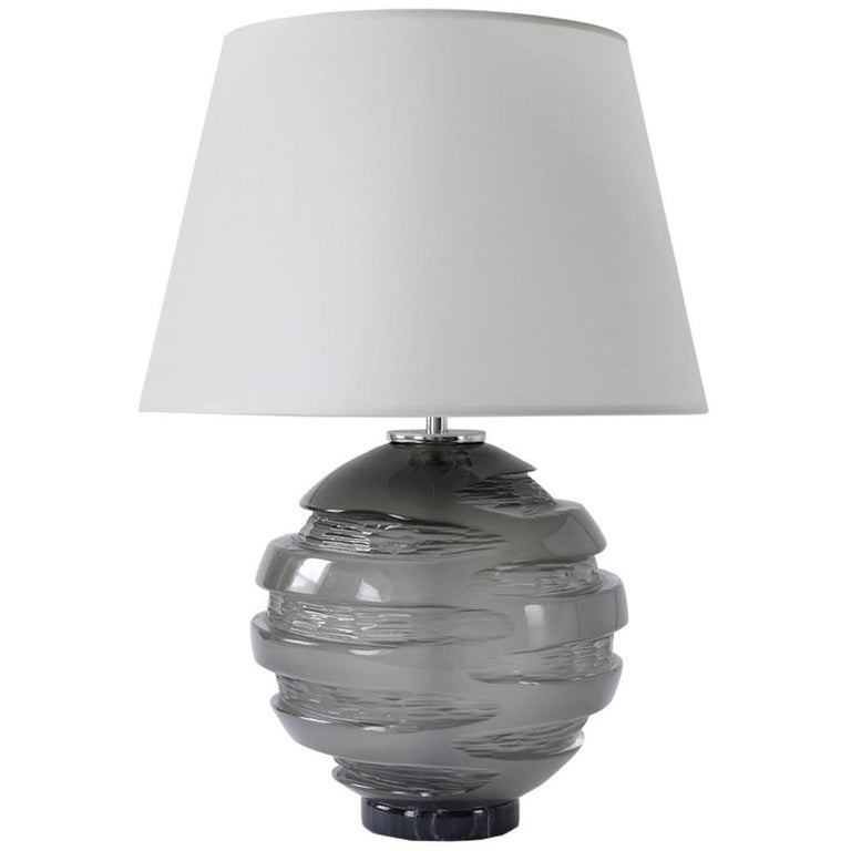 Handblown Grey Glass Gemini Table Lamp, Andrew Hughes For Sale