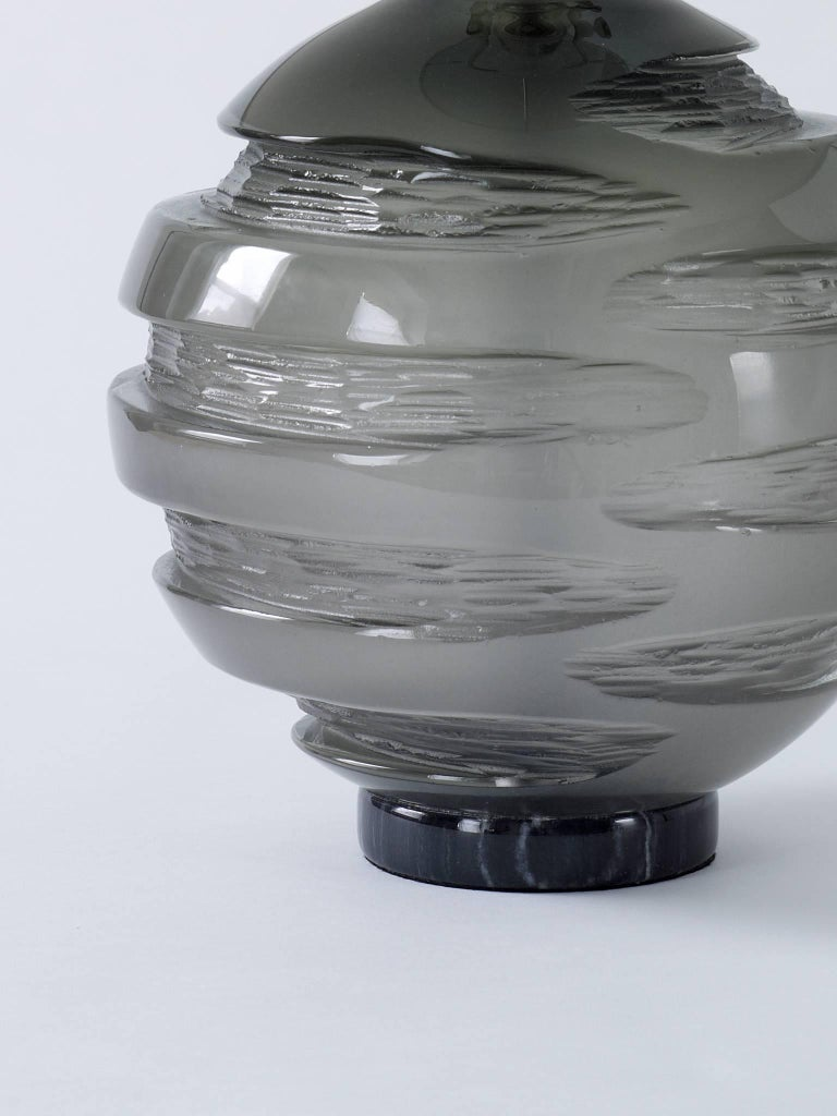 Handblown Grey Glass Gemini Table Lamp, Andrew Hughes 2