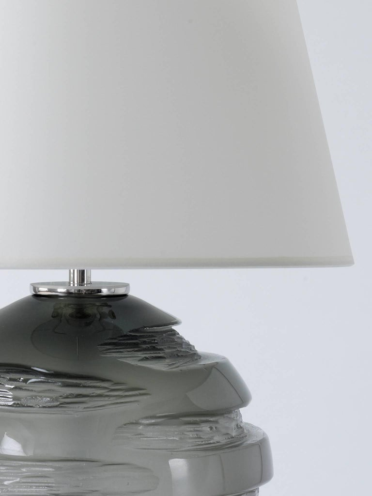 Modern Handblown Grey Glass Gemini Table Lamp, Andrew Hughes For Sale