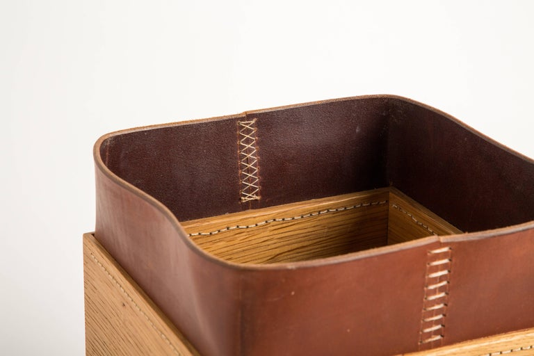 American Handmade Leather and Oak Trash Can, Erik Gustafson For Sale