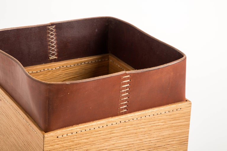 Hand-Carved Handmade Leather and Oak Trash Can, Erik Gustafson For Sale